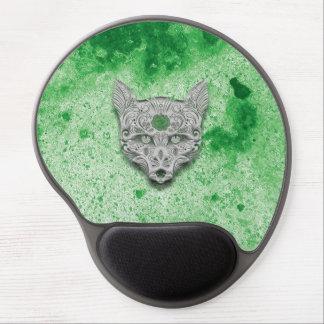 Cojín de ratón verde del cráneo del azúcar del alfombrillas con gel