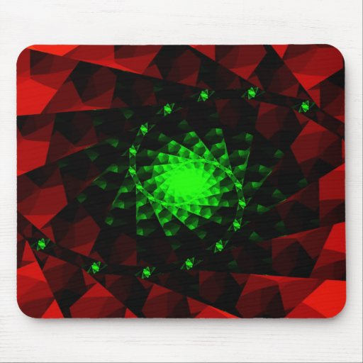 Cojín de ratón verde y rojo del fractal tapete de raton