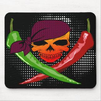 Cojín del cráneo del pirata y de ratón de las Cruz Mouse Pad
