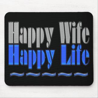 Cojín negro y azul de la vida feliz de la esposa f alfombrilla de raton