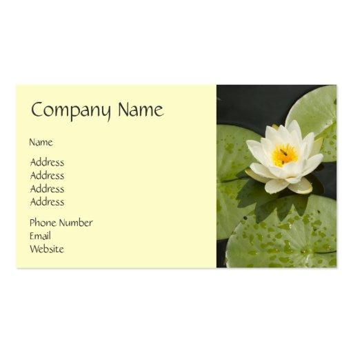 Cojines de lirio y flor de Lotus blanco Plantilla De Tarjeta De Visita