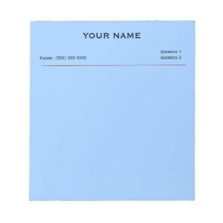 Cojines de nota de la clínica (azul de cielo) libreta para notas