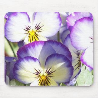 Cojines de ratón blancos y púrpuras de las violas alfombrilla de ratones