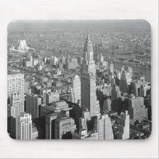 Cojines de ratón negros y blancos de New York City Alfombrillas De Raton