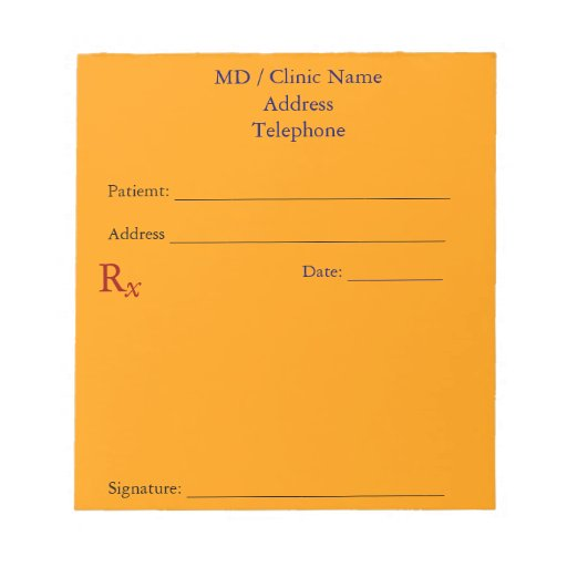 Cojines manuales de la prescripción (naranja brill blocs de notas