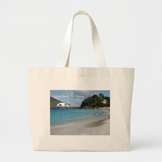 Cokie Beach, St. Thomas Large Tote Bag