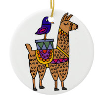 Col Llama with Colorful Blanket and Packages Ceramic Ornament
