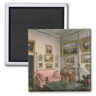 Col. Norcliffe's study at Langton Hall, c.1837 2 Inch Square Magnet