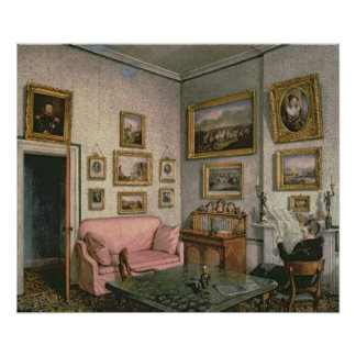 Col. Norcliffe's study at Langton Hall, c.1837 Poster