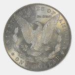 Cola 1889 del dólar de plata de Morgan Pegatina Redonda