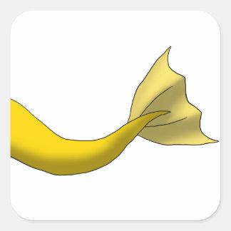 Cola amarilla de oro de la sirena colcomanias cuadradass