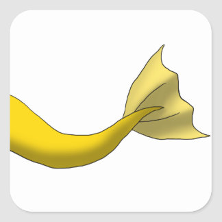 Cola amarilla de oro de la sirena pegatina cuadrada
