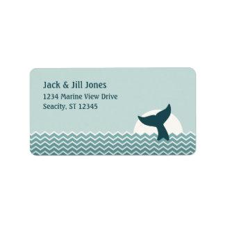Cola de la ballena etiquetas de dirección
