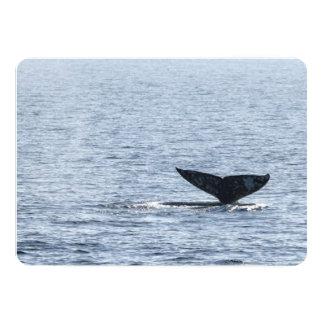 """Cola de la ballena gris invitación 5"""" x 7"""""""