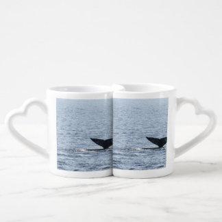 Cola de la ballena gris set de tazas de café