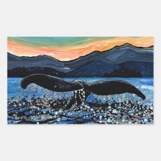 Cola de la ballena rectangular pegatina
