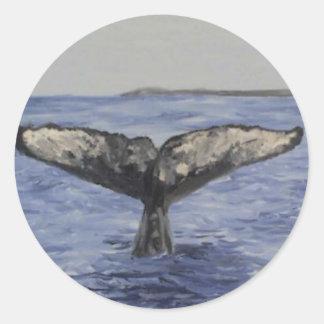 Cola de la ballena etiqueta redonda