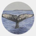 Cola de la ballena pegatina redonda