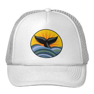 Cola de la ballena y gorra de las olas oceánicas