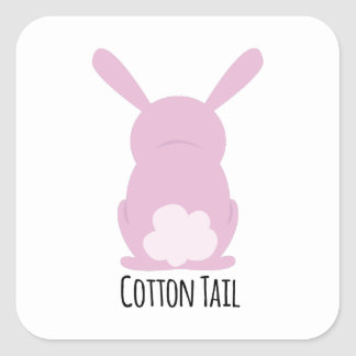 Cola del algodón pegatina cuadrada