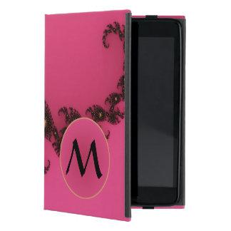 Cola del escorpión con el monograma - negro rosado iPad mini carcasas