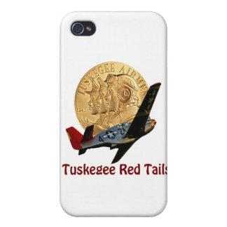 Cola del rojo de Tuskegee iPhone 4 Fundas