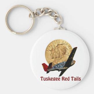 Cola del rojo de Tuskegee Llavero Redondo Tipo Pin