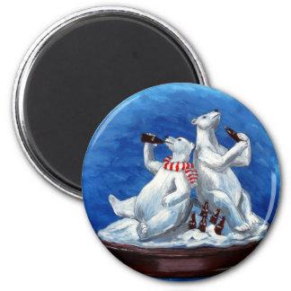 Cola-drinking Polar Bears 2 Inch Round Magnet