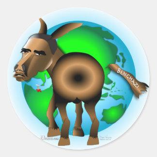 Cola en burro pegatina redonda