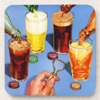 cola y cerveza retras del arte pop 50s posavasos de bebidas