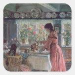 Colada de la mañana Coffee, 1906 Calcomania Cuadrada Personalizada