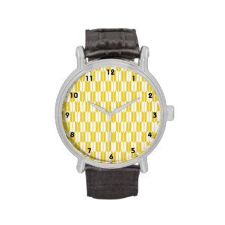 Colas amarillas y blancas de la flecha relojes de pulsera