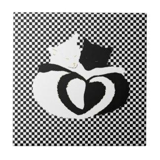 Colas de CAT - blanco negro del amor Azulejo Cuadrado Pequeño