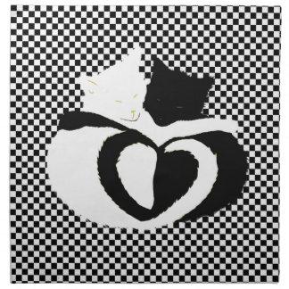 Colas de CAT - blanco negro del amor Servilleta Imprimida