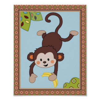 Colas rizadas - cuarto de niños del mono/impresión póster