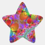 Colas vibrantes de los pavos reales pegatinas forma de estrellaes personalizadas