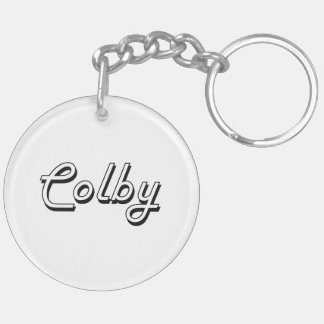 Colby Classic Retro Name Design Double-Sided Round Acrylic Keychain
