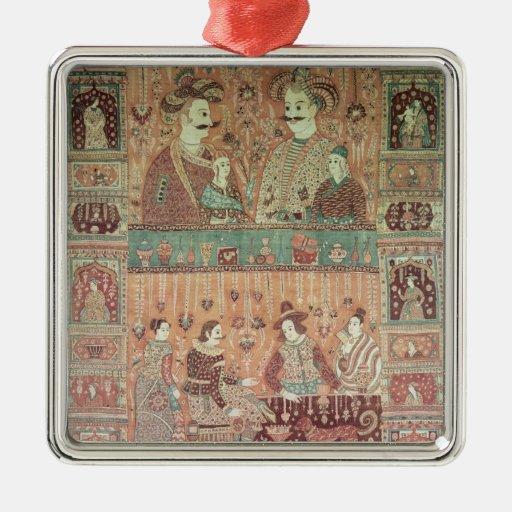 Colcha que representa a potentados nativos ornamentos de navidad