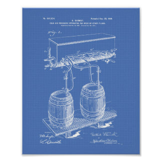 Cold Air Pressure Beer 1900 Patent Art Blueprint Poster