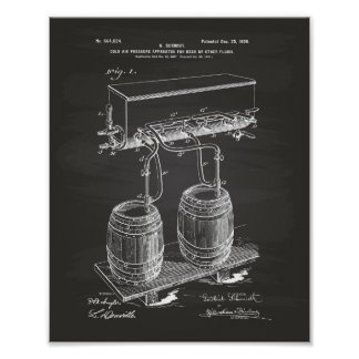 Cold Air Pressure Beer 1900 Patent Art Chalkboard Poster