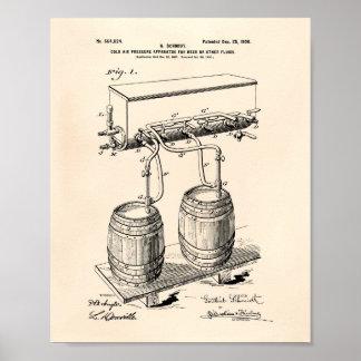 Cold Air Pressure Beer 1900 Patent Art Old Peper Poster