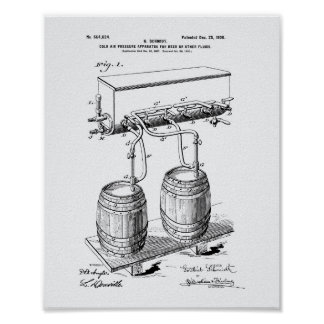 Cold Air Pressure Beer 1900 Patent Art White Paper Poster