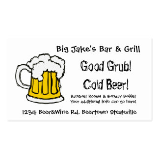 Cold Beer Bar and Grill Restaurant or Liquor Store Business Card