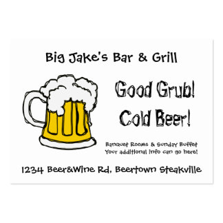 Cold Beer Bar and Grill Restaurant or Liquor Store Large Business Card