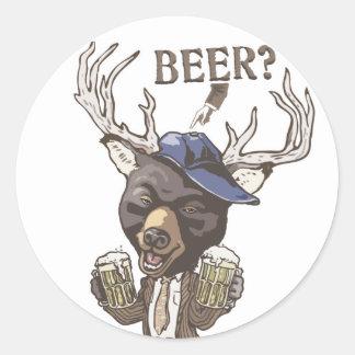 Cold Beer? Funny Beer Deer Hybrid Sticker