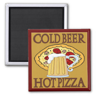 Cold Beer, Hot Pizza Tshirts Refrigerator Magnets