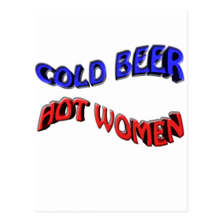 cold beer hot woman postcard