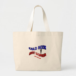 cold beer hot woman , with  lady silhouette large tote bag