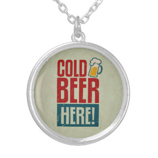 Cold Beer Silver Plated Necklace