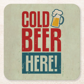 Cold Beer Square Paper Coaster